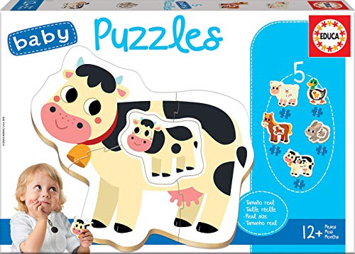 Educa - Baby Puzzles, puzzle infantil Animales de granja, 5 puzzles progresivos de 2 a 4 piezas, a partir de 12 meses (17574)