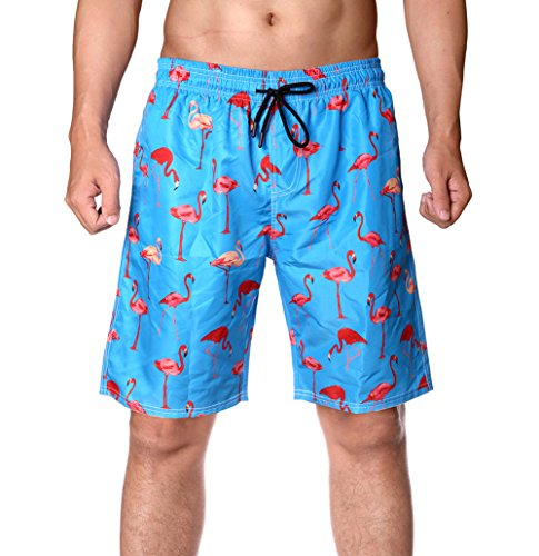 WEVIAS Men's Short Swim Trunks,Best Board Shorts for Sports Running Swimming Beach Surfing,Quick Dry Breathable Mesh Lining (Blue Flamingo, Medium)