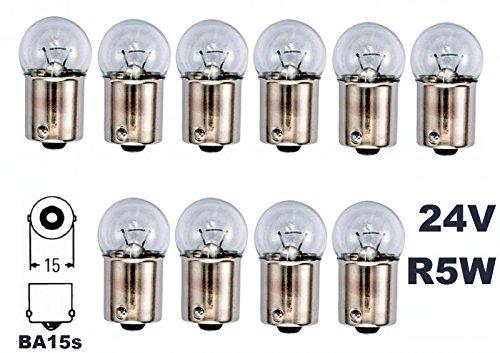 Preisvergleich Produktbild 24 Volt - 10 Stück - R 5W - BA15S - 5Watt - Nfz LKW Beleuchtung - Glühlampe,  Glaslampe,  Glühbirne,  Soffitte,  Lampen. Mit E-Prüfzeichen und ist für den Straßenverkehr zugelassen. INION®