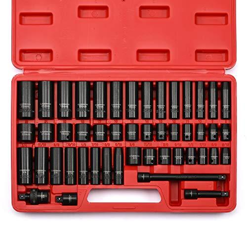 CASOMAN 3/8' Drive Impact Socket Set, 48 Piece Standard SAE and Metric...
