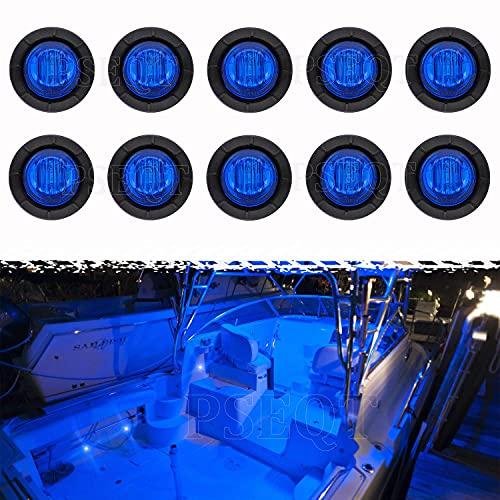 PSEQT 3 LED Round Boat Interior Deck Transom Courtesy Utility Light Marine Step Cockpit Lighting Waterproof for Fishing Pontoon Kayak Yacht Sailboat (Blue, 10Pcs)…