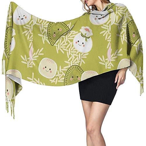 Womens grote sjaal dumplings met rijst zachte kasjmier voelen Pashmina sjaals wraps 27x78 inch