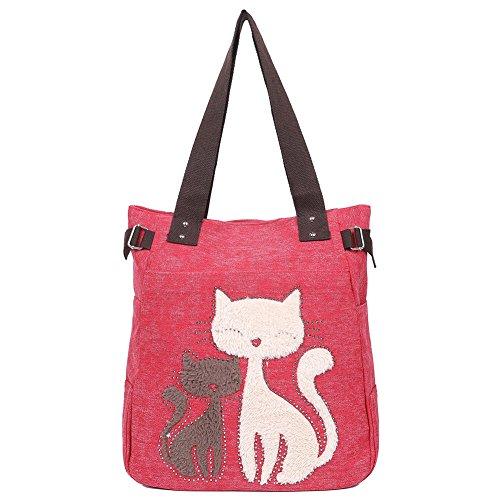 EGOGO Damen Schultertasche Canvas Henkeltasche Tasche Handtasche Niedliche Katzen Tasche E523-2 (Rot)