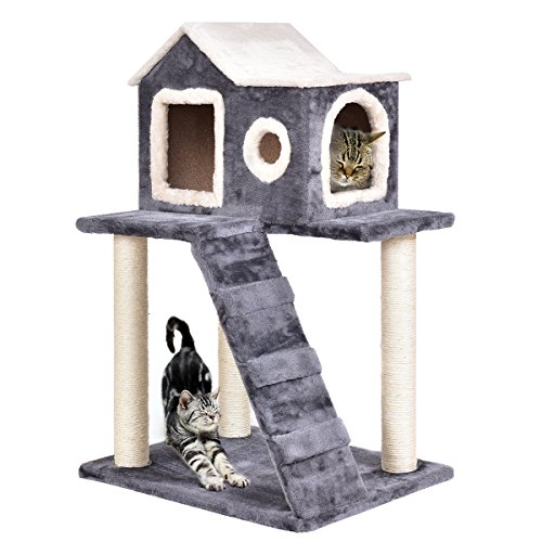 Tangkula Igloo Cat Tree, Pet Tower Kitty Condo, Lovely Pet Furniture with Scratching Posts and Ladder, Pet Play Toy House, Activity Centre Cat Tree - for Kittens, Cats and Pets (36'')
