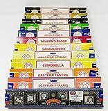 JRose Collections Satya Nag Champa y Sterling Effectz Combo Set de varillas de incienso y carro de monedas 12 paquetes de 15 g, juego de múltiples fragancias-JR6