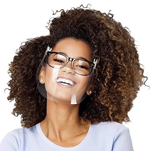 Visiera intelligente con clip sugli occhiali-Traspirante,Ultraleggera-Maschera facciale trasparente per adulti-Coperchio riutilizzabile lavabile-Set di 2 visiere per la protezione della bocca del naso