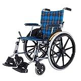 ZXL@ED Silla de Ruedas, Ultralight Faltbare Falte Bewegliches Haupt Ältere Behinderte Trolley Aluminium-Handbuch Einfach Für Senioren Rollstuhl schwer -