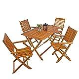 IHD Akazienholz Gartensitzgruppe 5tlg Gartentisch mit 4 Gartenstühlen klappbar - 3