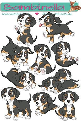 Bambinella© Stickerparade - 10 Sticker - Motiv: Hund Entlebucher Sennenhund - gefertigt in eigener Werkstatt in Neuhof/Deutschland