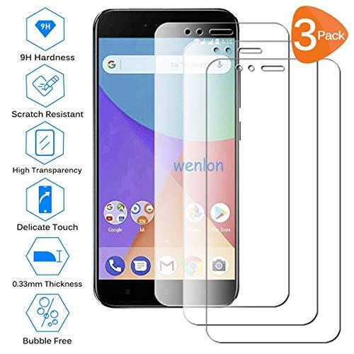 Wenlon [3 Unidades Adecuado para Xiaomi Mi A1, Pantalla HD de Cristal Templado 9H de dureza, película Protectora de Vidrio Templado, protección contra rayones