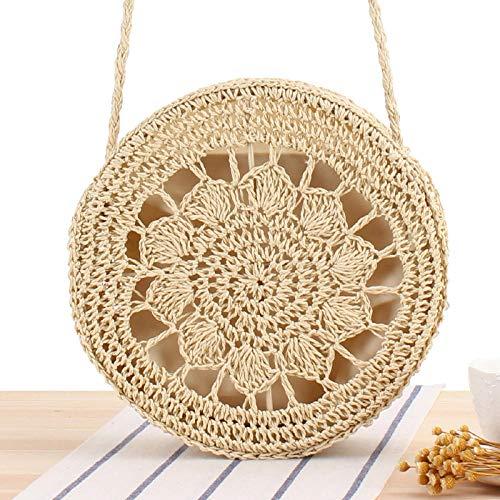 Bolso de mujer de pastel redondo de paja estilo mori de playa de verano tejido de hombro 24x11cm-2