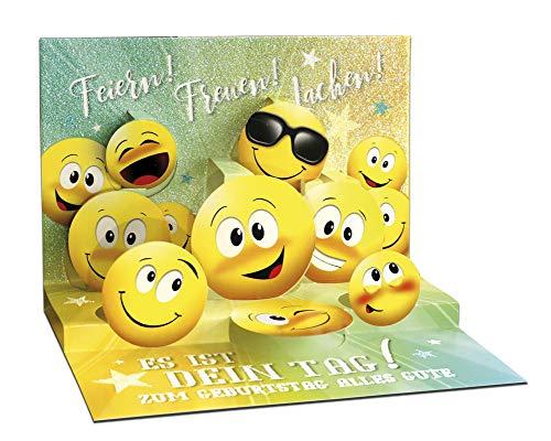 3D Pop – UP Karte Geburtstag, mit Glitter, Geburtstagskarte 3D, POP - UP Karten, POP UP Karten Geburtstag, Motiv: Smiley