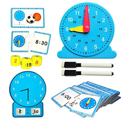 Juego de Juguetes de Aprendizaje Tell The Time Clock, Juego de Reloj de Aprendizaje,Juego de Reloj de Reloj,Hora cognitiva,Minutos,Reloj de Tiempo,Juguetes de Juego de Aprendizaje para niños de 5-9