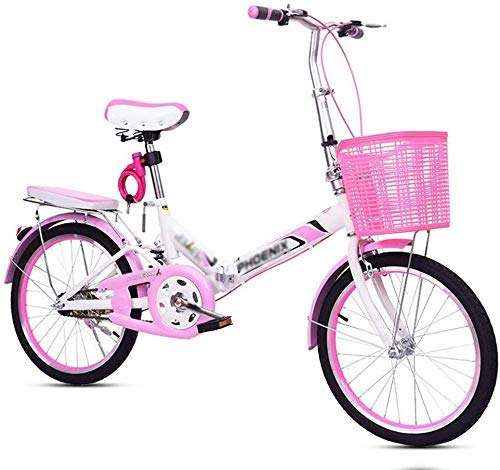 BANANAJOY 20 Pedal pulgadas Bicicleta plegable rosa adultos de la bicicleta de la bicicleta del estudiante femenino La práctica de la bicicleta de la bicicleta de las señoras princesa de bicicletas (d