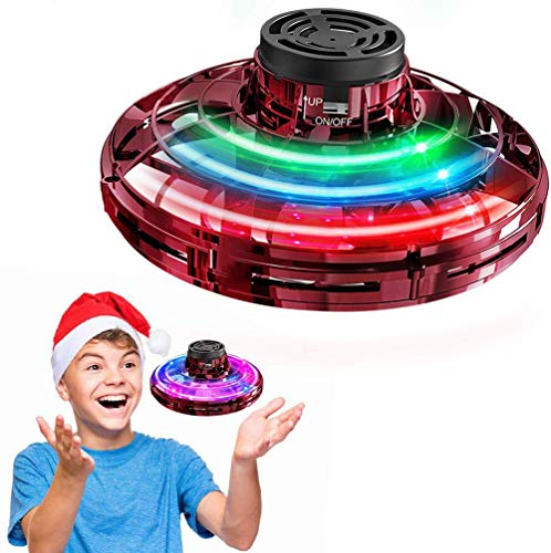 UFO飛行ジャイロ UFOドローン 人気の指遊び 減圧おもちゃ ロータリー 回転式 先進版指こま フライノバ 指先UFO 多彩なLEDライト USB充電式 ストレス解消 多人ゲーム/チームゲーム/室外,Red
