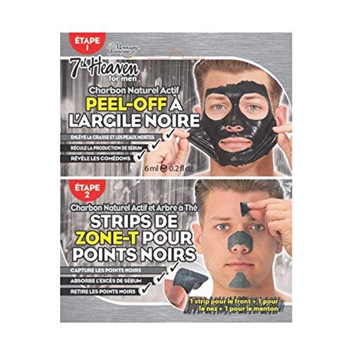7th Heaven pour Hommes - 12 Duo Pack Masque Peel-Off à l'Argile Noire et au Charbon + 1 Strip Zone-T Au Charbon de Bois et Théier - Nettoie les Pores