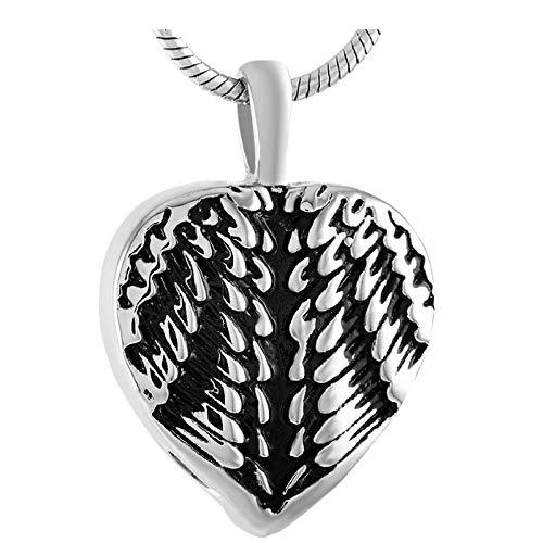 Wxcvz Colgante Conmemorativo Pluma Corazón Pérdida De Amor Urna Conmemorativa Mascota/Cenizas Humanas Cofre Recuerdo Colgante De Cremación De Corazón De Acero Inoxidable