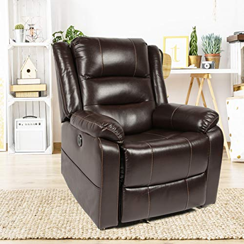 Unionline PU Leather Power Lift Chairs Recliner Massage for Elderly with Remote Control (New Lift Chair-Brown)