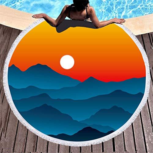 GermYan Toalla de baño con Estampado de Amanecer de Paisaje Paisaje 3D Niños Adultos Borla Circular Toallas de Playa para Nadar al Aire Libre