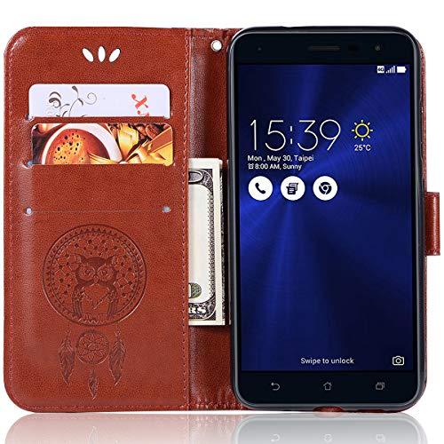 ASUS Zenfone 3 ZE520KL Lederhülle für ASUS Zenfone 3 ZE520KL (Brieftaschen-Format, Leder-Prägung, mit Kreditkartenfächern für 5,2 Zoll / 13,2 cm) ASUS Zenfone 3 ZE520KL