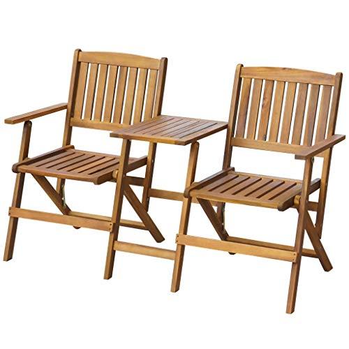 GOTOTOP - Banco de jardín plegable con mesa de jardín de madera...