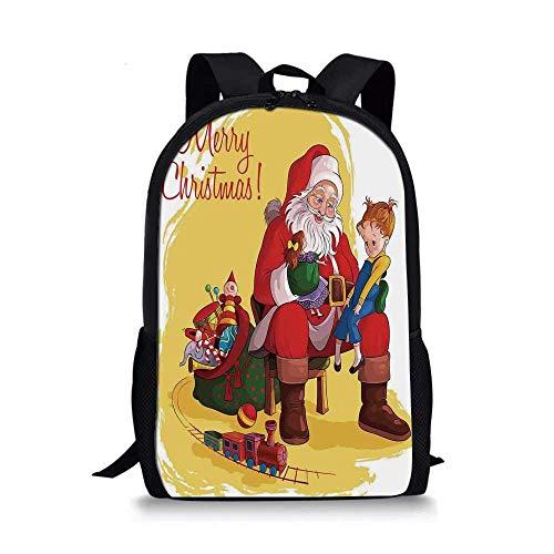 AOOEDM Backpack Weihnachtsdekorationen Stilvolle Schultasche, kleines Kind sitzt auf dem Santa Knee mit Geschenkpuppe und Spielzeugeisenbahn Kinderdekor für Jungen, 11 \'\' L x 5 \'\' B x 17 \'\' H.