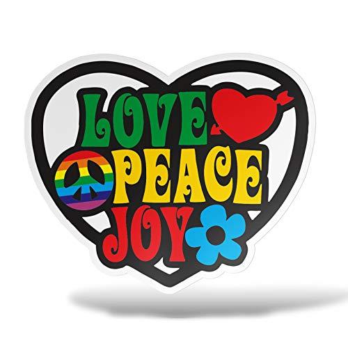 erreinge Autocollant d'amour de Paix Joy Flower Power Reggae Shaped Adhésif PVC pour Autocollant Peint Auto Moto Casque Camper pour Ordinateur Portable - 15 cm
