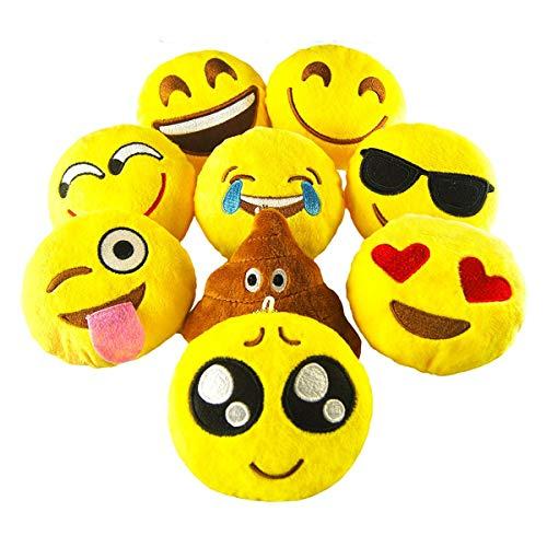 Pawliss Emoji Mini Plush Toy Party Supplies Emoticon Throw Pillow Cushion 9 Pack