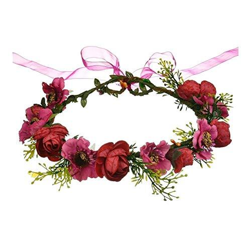 Blumenmädchen-Krone, Hochzeit, Boho-Kopfschmuck, Haarband, Haarkranz (Farbe: Kastanienbraun, Größe: Standard)
