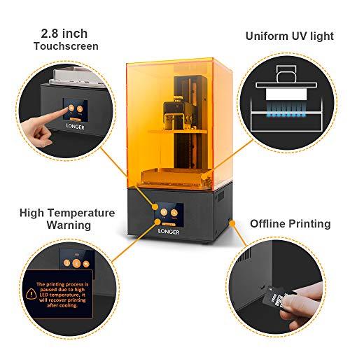 LONGER Orange 10 Impresora 3D, Resina Impresora 3D SLA con Iluminación LED Paralela, Cuerpo de Metal Completo, 98mm x 55mm x 140mm Tamaño de Impresión, Advertencia de Temperatura