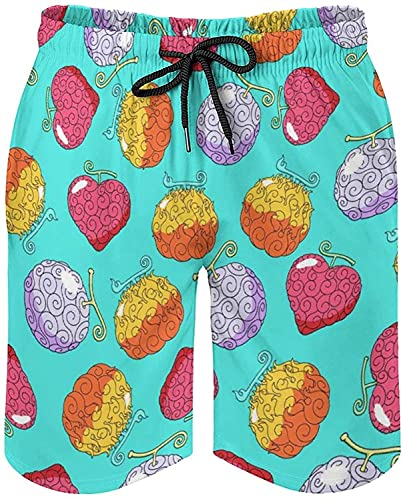 One Piece Anime Devil Fruit Men Swim Trunks Drawstring Quick Dry Surf Beach Board Shorts with Mesh Lining and Pockets