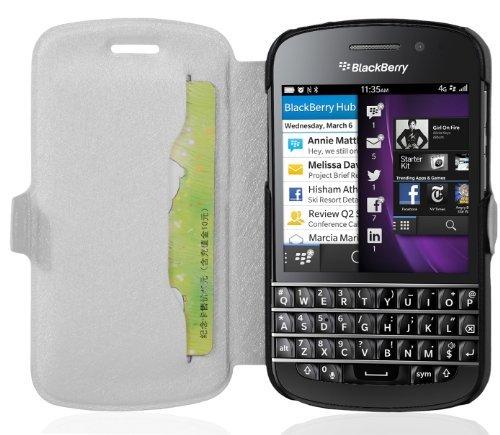 Cadorabo Hülle für BlackBerry Q10 - Hülle in ICY WEIß – Handyhülle mit Standfunktion & Kartenfach im Ultra Slim Design - Hülle Cover Schutzhülle Etui Tasche Book