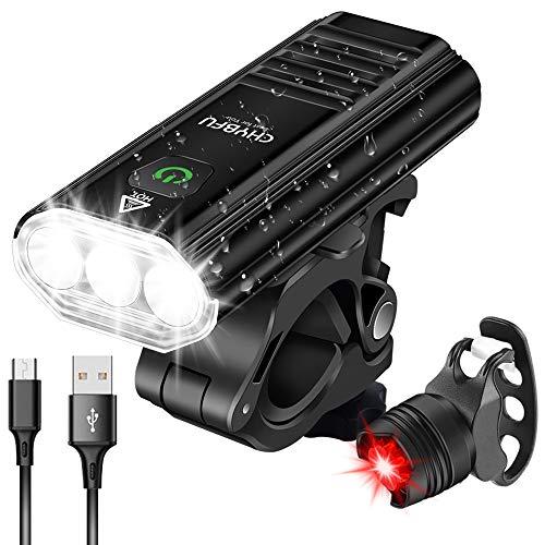 CHYBFU Luz Bicicleta Recargable USB, Linterna Bicicleta IPX6 Impermeable con Luz Delantera...