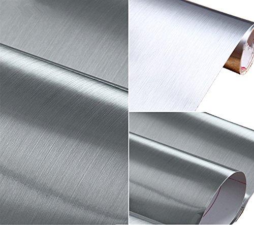 WDragon Película de papel adhesiva de vinilo resistente al agua, antigrasa, revestimiento metálico brillante, para armario de cocina, 61 x 191 cm (plateado)