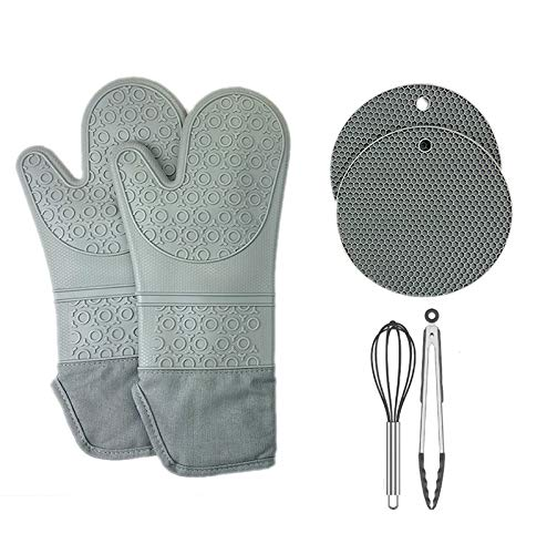 Goodsok Extra Long Silicone Oven Mitts and Pot Holders Sets,15 Inches Heat Resistant Oven Mitts with Hot Pads Pot Holders and Mini Whisks & Tongs for Cooking,Pack of 6