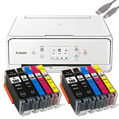 PIXMA TS6250_51 printer multifunctionele inkjetprinter zwart (printen, scannen, kopiëren, cloudlink) met comp. YouPrint® inktpatronen PGI-580/CLI-581 XXXL Set 2: mit 10 Druckerpatronen wit