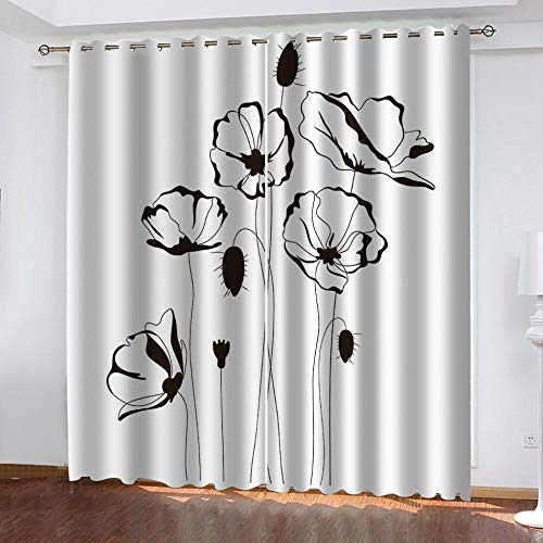 BHOMLY - Blackout Curtains For Kids Bedroom - 3D Printing Pattern - Black plant flower creative 72.5x175cm Curtains Blackout Eyelet - Bedroom - Living Room - Nursery - 2 Panels