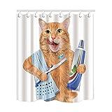 KOTOM Animal Decor Duschvorhang Putzen die Zähne Katze mit Handtuch lustige Design Stoff Wasserdicht Badezimmer Vorhänge & 12Haken Frei, 69x 70Zoll