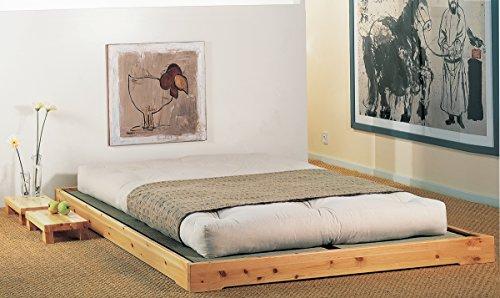 Lit en bois modèle Nokido 160 x 200 cm avec lattes et atami, couleur noir