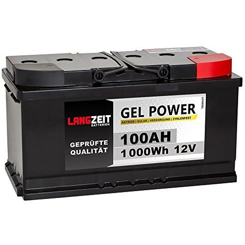 LANGZEIT Akku 12V 100AH Blei Gel Batterie Solarbatterie Wohnmobil Boot Solar zyklenfest