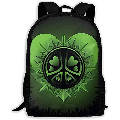 Lmtt Mochila Psicodélica Verde Marihuana Cannabis Bookbag Casual Bolsa de Viaje para Adolescentes Niños Niñas