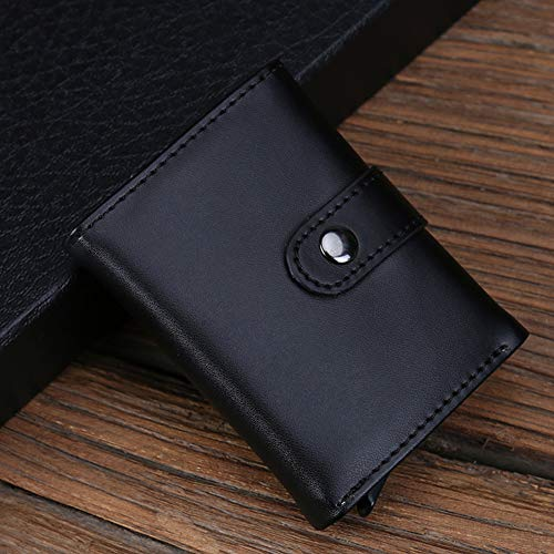 QUWN-Automatische Pop-Up Credit Card Houder RFID Blokkeren Portemonnee Slim Portemonnee PU Lederen Vintage Aluminium Business Card Houder