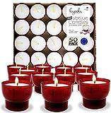 Hyoola Velas votivas sin perfume – Taza de plástico roja – 7 horas – paquete de 50 – fabricado en Europa