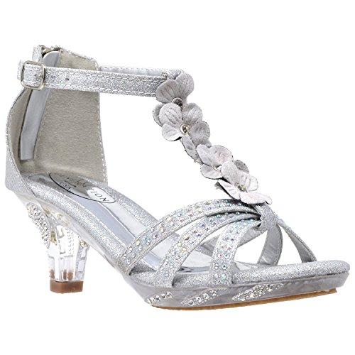 Generation Y Kids Heel Sandals T-Strap Flower Glitter Rhinestone Clear Low Heels Girl Dress Shoes Silver Clear Size 4