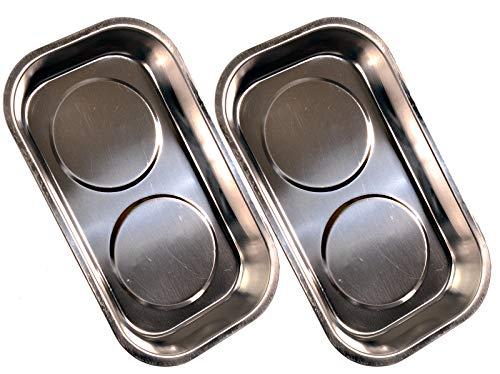 2 Stück Doppel-Magnetschale rostfrei 240x140x45 mm Magnetbecher Magnetteller Haftschale Werkstatt
