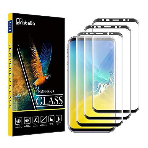 Samsung S9 Plus Panzerglas, AKABEILA Kompatibel für Samsung Galaxy S9 Plus Schutzfolie [3 Stück] [Gebogen Vollständige Abdeckung] HD Panzerglasfoli Anti-Bläschen [9H Härte] Displayschutzfolie, Schwarz