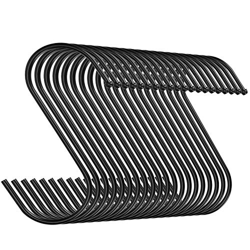 Emoly 20 Pack Heavy Duty s Hooks Stainless Steel S Shaped Hanging Hooks Hangers for Kitchen, Bathroom, Bedroom and Office (Black)