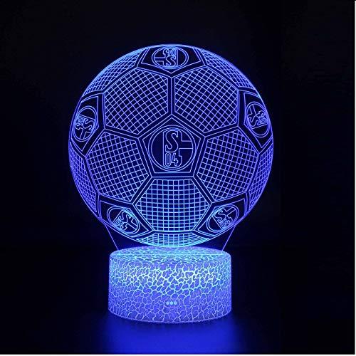 3d illusion nachtlicht FC Schalke 04 Intelligentes 7-farbiges Umgebungslicht Crack Base LED Tischleuchte Kindergeburtstag Weihnachtsgeschenk Geschenk des Fußballfans