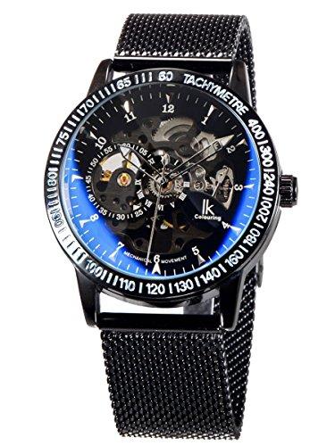 Alienwork Herren Damen mechanische Automatik-Uhr schwarz mit Metall Mesh Armband Edelstahl Skelett