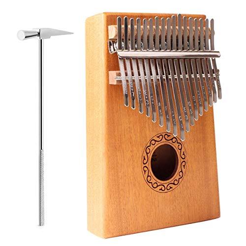 17キーカリンバ親指ピアノ、音楽書付きポータブルマホガニー木製フィンガーピアノ、チューニングハンマー、携帯バッグ、音楽ステッカーなど